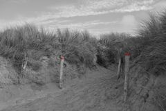 Dunes in black, white and red. Dunes de la torche, Bretagne, France Royalty Free Stock Photo