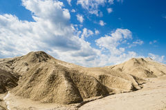 Dunes. With blue sky and clouds as background stock photos