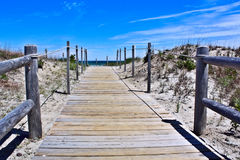 Dunes Bridge. This wooden bridge provides safe passage through the protected sand dunes and vegetation on the way to the Atlantic ocean stock photography