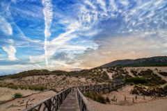 Dunes of Cala Mesquida in Mallorca. With blue sky Royalty Free Stock Images