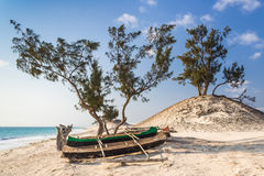 Dunes and canoes Royalty Free Stock Images