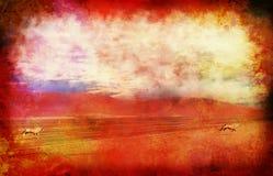 Dunes de désert et antilope d'oryx sur le grunge Photos libres de droits