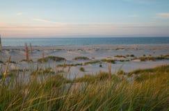 Dunes de sable avec la v?g?tation devant l'oc?an photographi? dans le coucher du soleil apr?s un jour d'?t?s en parc national image libre de droits