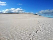Dunes de sable de désert avec des empreintes de pas image libre de droits