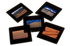 Dunes de sable - diapositives en couleurs sur un lightbox Image libre de droits