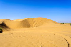 Dunes de sable, dunes de SAM de désert de Thar d'Inde avec l'espace de copie Photographie stock libre de droits