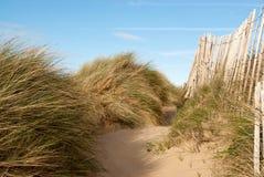 Dunes de sable, herbe et vieille barrière Photos libres de droits