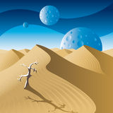 Dunes. Desert landscape on a distant planet vector illustration