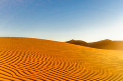 Dunes in the dessert of Morocco by M`hamid Royalty Free Stock Image
