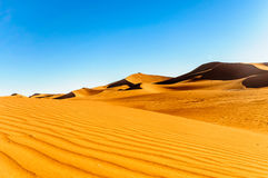 Dunes in the dessert of Morocco by M`hamid Royalty Free Stock Photos