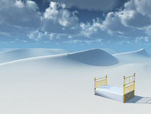 Dunes Dreams. High Resolution Illustration Bed in desert dunes Stock Photo