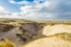 Dune landscape Dutch coast with sand drifts and wind eroded deep holes. Dunes on the Dutch North Sea coast at IJmuiderslag with wind sweeping stripes in the sand Royalty Free Stock Photo