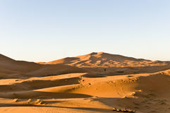 Dunes of Erg Chebbi at Morocco. General view of Erg Chebbi oranges sand dunes at Morocco Stock Photos