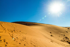 Dunes of Erg Chebbi near Merzouga in Morocco Royalty Free Stock Images