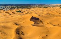 Dunes of Erg Chebbi near Merzouga in Morocco. Seas of dunes of Erg Chebbi near Merzouga in southeastern Morocco Royalty Free Stock Image