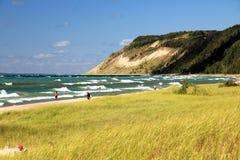 Dunes et plage de sable du Michigan images stock