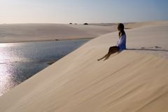 Dunes girl  Royalty Free Stock Images
