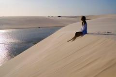 Dunes girl. Girl in dune - National Park of the Lençois Maranenses - Nordeste - Brazil Royalty Free Stock Images