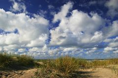 Dunes with green grass. Blue sky with white clouds Stock Image