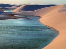Dunes with lagoon. Lagoon with dune - National Park of the Lencois Maranhenses - Brazil stock photos
