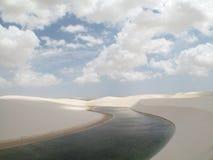 Dunes and lake landscape in Lencois Maranhenses. Brazil Royalty Free Stock Photos