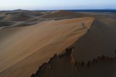 Dunes mobiles de désert au lever de soleil Images stock