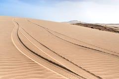 Dunes of Morro d´Areia, Boavista, Kapverden. Tire-tracks in the dunes of Morro d´Areia, Boavista, Kapverden stock photo