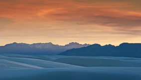 Dunes and Mountains of White Sands. Taken at White Sands National Monument, New Mexico Royalty Free Stock Photography