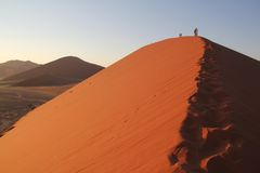 Dunes in Namibia desert Africa. Dunes at sunrise in the Namibian desert in Africa Stock Photography