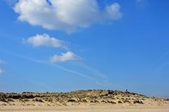 Dunes and Norfolk Skyline, Winterton-on-Sea. Sand Dunes and big Norfolk Skyline with striking cloud formations at Winterton-on-Sea, England UK stock photos
