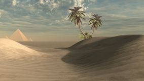 Dunes, palms and pyramids. Desert scenery with pyramids and palms Royalty Free Stock Photography