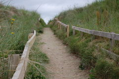 Dunes path. Fenced pathway through sand dunes Stock Images