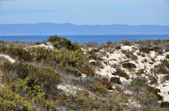 Dunes in the peninsula of Troia and view over the Arrabida ridge Stock Photo