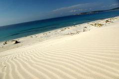 Dunes at Porto Pino's Bay stock photography