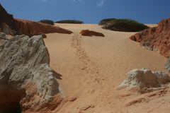 Dunes on the beach of Canoa Quebrada royalty free stock images