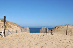 Dunes at Race Beach. Old wooden fences and sand dunes at Race Beach on Cape Cod stock photos