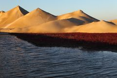 Dunes  and red beach Royalty Free Stock Photography