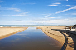 Dunes River Outlet to Lake Michigan. In Dunes State Park, Indiana royalty free stock photos