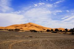 Dunes of Sahara. Desert in Morocco Royalty Free Stock Photography