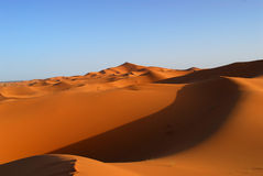 Dunes of Sahara Desert. Red Moroccan sands of Sahara Desert Royalty Free Stock Photo