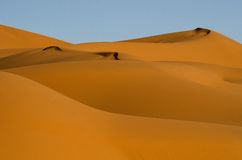 Dunes in Sahara desert, Morocco. Erg Chebbi sand dunes shape in the Sahara Desert Royalty Free Stock Photography