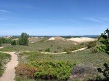 Dunes sand beach trees bushes nature coastal travel relaxation. Sand dunes and trees Stock Photo