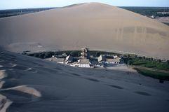 Dunes and Tempel ,Dunhuang,China Stock Photos