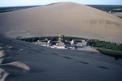 Dunes and Tempel ,Dunhuang,China. Dunes and Temple,Dunhuang,Gansu,China Stock Photos
