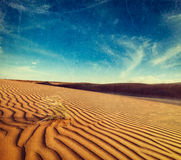 Dunes of Thar Desert, Rajasthan, India. Vintage retro hipster style travel image of dunes of Thar Desert. Sam Sand dunes, Rajasthan, India with grunge texture Stock Photography