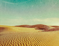 Dunes of Thar Desert, Rajasthan, India. Vintage retro hipster style travel image of dunes of Thar Desert. Sam Sand dunes, Rajasthan, India with grunge texture Royalty Free Stock Photography