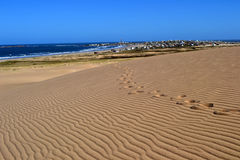 Dunes and town. Lonely town of cabo polonio and his dunes Stock Image