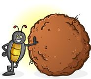 Dung Beetle with a Big Ball of Poop Cartoon Character Royalty Free Stock Photography