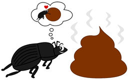 Dung beetle and the big poop funny cartoon illustration Stock Photo