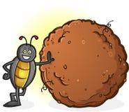 Dung Beetle con una grande palla del personaggio dei cartoni animati della poppa Fotografia Stock Libera da Diritti